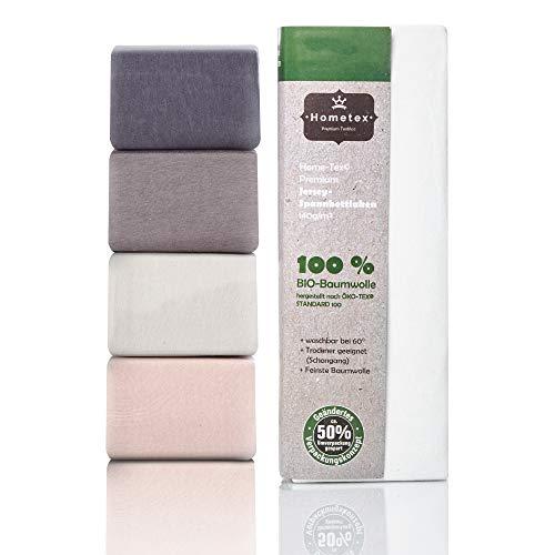 Hometex Premium Textiles Bio Spannbettlaken Spannbetttuch bis 25 cm Steghöhe | Bettlaken aus 100% Bio-Baumwolle 140g/m² - PREMIUMQUALITÄT ÖKO-TEX Standard Green 100 | 180/190-200/200 cm Weiß