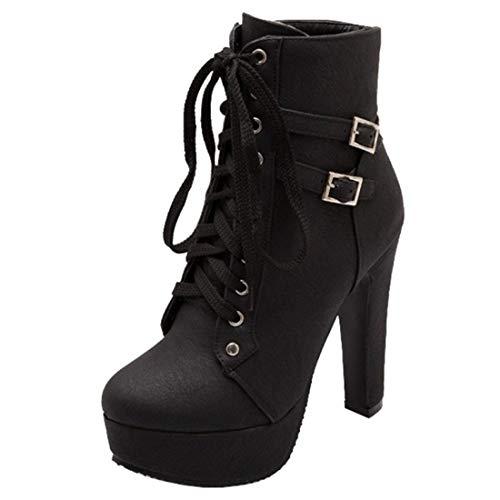 Artfaerie Damen Blockabsatz Stiefeletten Schnürung Plateau High Heels Ankle Boots mit Schnalle 12cm...
