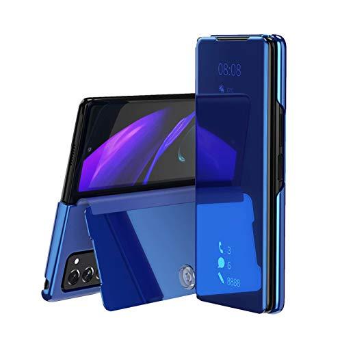 TOPOFU für Samsung Galaxy Z Fold 2 Hülle, Plating Smart Clear View Hülle Flip Handyhülle mit Standfunktion Anti-Scratch Bookstyle Tasche Schutzhülle für Samsung Galaxy Z Fold 2 (Blau)