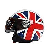 MJW Motorcycle half-covered retro helmet motor vehicle half helmet men and women electric car Harley helmet L code (59-60cm),D,XXL