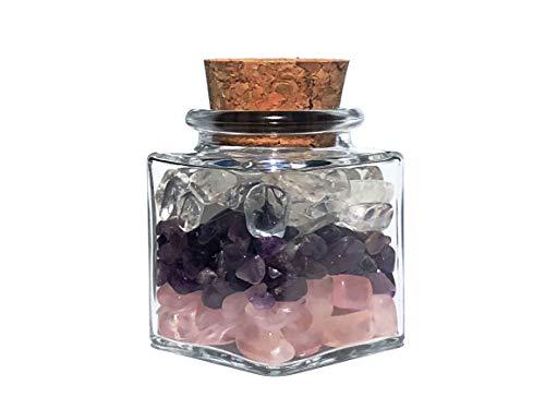 MKöpke® - Amethyst | Bergkristall | Rosenquarz - Trommelsteine im Glasfläschchen - Edelsteine Grundmischung
