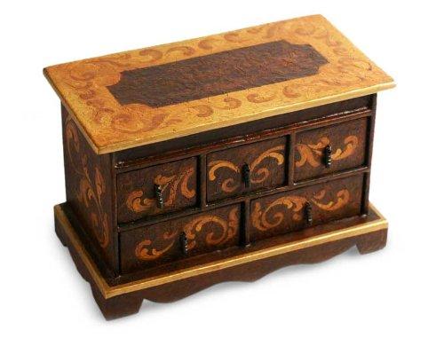 NOVICA Komoda z cedrem, Longing - ręcznie wykonana drewniana skrzynia z biżuterią