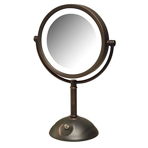 "Jerdon HL8808BZL 8X Magnification LED Lighted Table Top Mirror, 8.5"" Diameter, Bronze Finish"