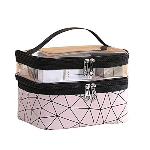 AIBAOBAO Borsa per il trucco, borsa per cosmetici grande a doppio strato, borsa per articoli da toeletta da viaggio professionale con manico