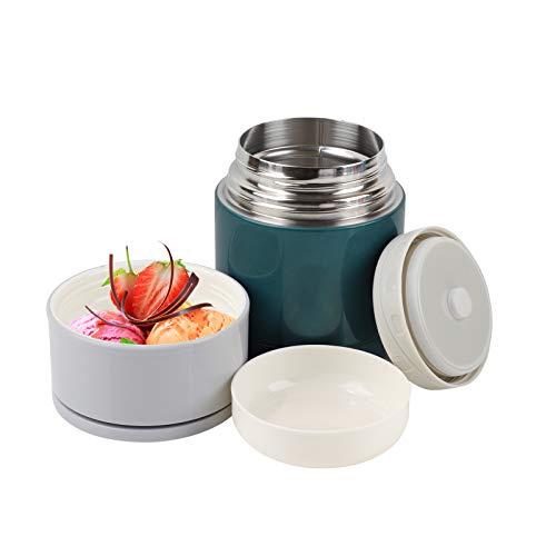 Contenitore per alimenti isolato Barattolo sottovuoto per alimenti in acciaio inossidabile da 600 ml Utile per zuppe/porridge/riso/frutta (verde)