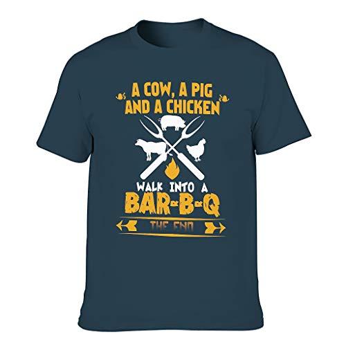 T-HGeschäft Camiseta elástica para hombre, diseño vintage de vaca, cerdo, pollo y gallina azul marino XXXXXL