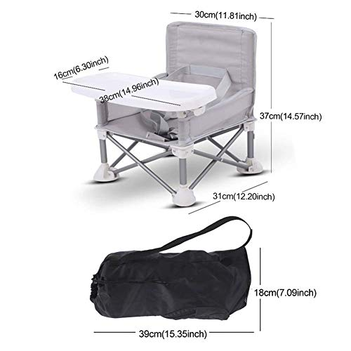 Children Dining Chair Beach Lawn Adjustable Strap With Tray Booster Seat Camping Detachable ting Aluminum Alloy ghchair Travel Baby Portable Foldable(Grey)