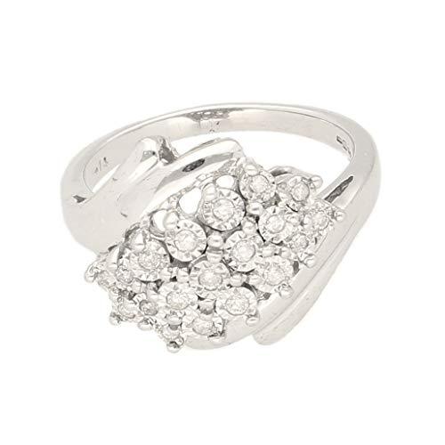 Anillo de oro blanco de 9 quilates con diamantes de 0,15 quilates, talla N, 15 mm más ancho | Anillo de lujo para mujer