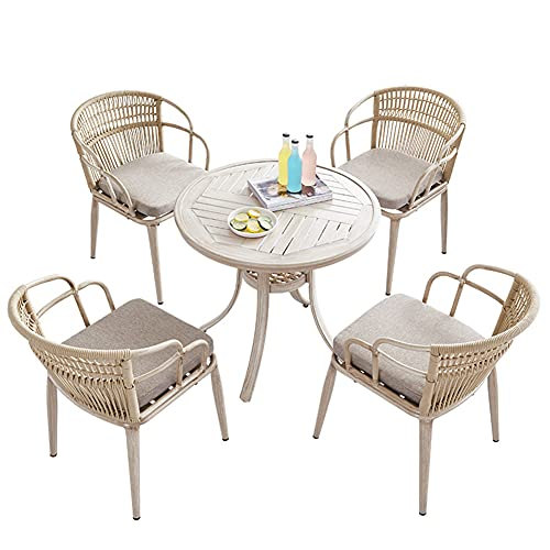 Outdoor Patio Furniture Sets, 5-Piece Braided Rope Garden Conversation Chair Sets with Aluminum Round Table All-Weather Patio Combination Chair