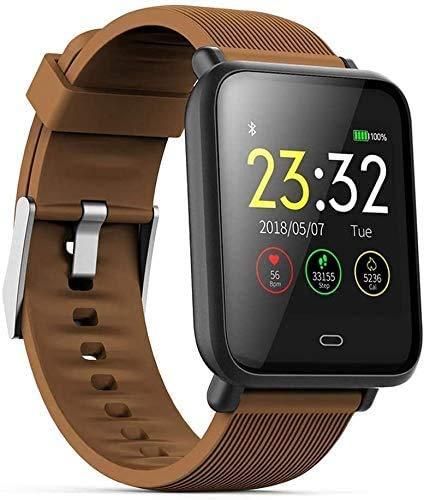 JIAJBG Pulsera inteligente de seguimiento de la actividad física, reloj deportivo de prueba de frecuencia cardíaca, control de la salud, información de empuje, temporizador remoto de color marrón
