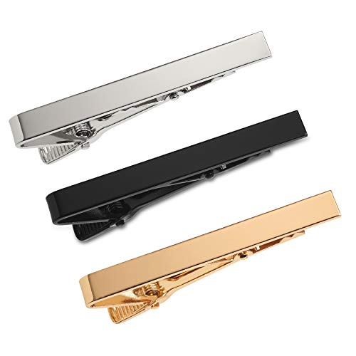 Puentes Denver 3-er Packung Krawattenklammer/Krawattennadel 5.4 cm Silber, Goldfarben, Schwarz Für Krawatte im Geschenketui, Geschenkset