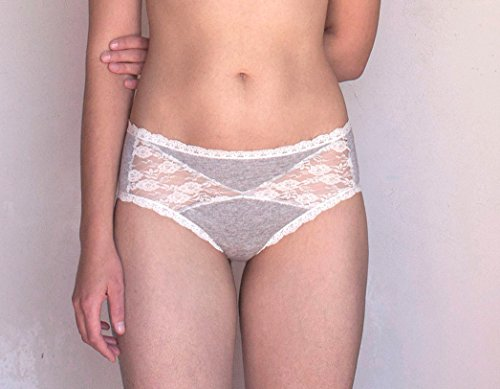 Lace Panties. Gray and Ivory Lace. Sheer Lace Back. Handmade Lingerie