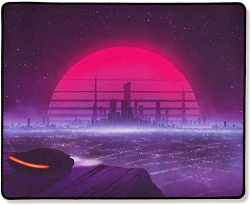 Thasis - Extended Gaming Mouse Pad - Retrowave Edition - Cloth with Stitched Edges - 15.7in H x 36.6in L-Retrowave-Standard
