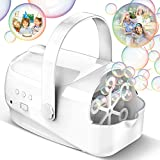 Hamdol Bubble Machine, Auto Bubble Blower Portable Bubble Maker for Kids with 4500+ Bubble/min, 3 Speeds, Brushless Motor, Powered by Plug-in or Batteries, Bubble Toys for Indoor Outdoor Wedding Party