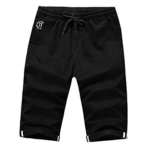 Xmiral Hosen Caprihose Herren Einfarbig Freizeithosen für Männer Chino Hose Gerade Strecken Slim Fit Training Hose Shorts(Schwarz,4XL)