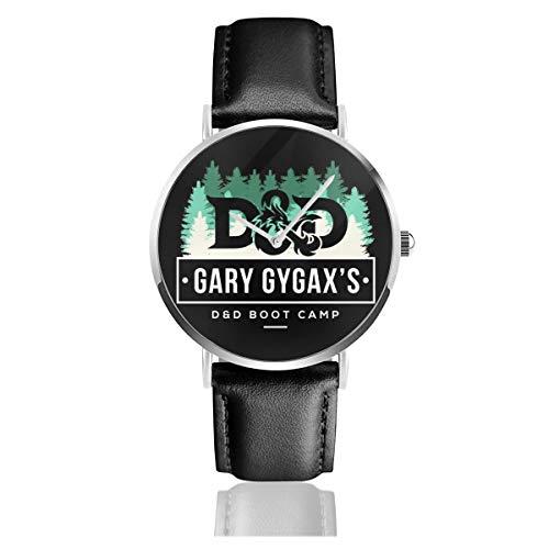 Unisex Business Casual Dungeons and Dragons Gary Gygax Boot Camp Uhren Quarz Leder Uhr mit schwarzem Lederband für Männer Frauen Young Collection Geschenk