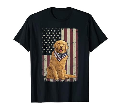 Golden Retriever Bandera Americana Bandana 4 de julio Camiseta