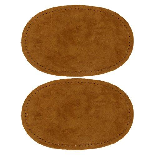 Paire de Patchs Pièces Ovale en Tissu de suède de Couture pour Protection de Coude et Genou - Brun Clair