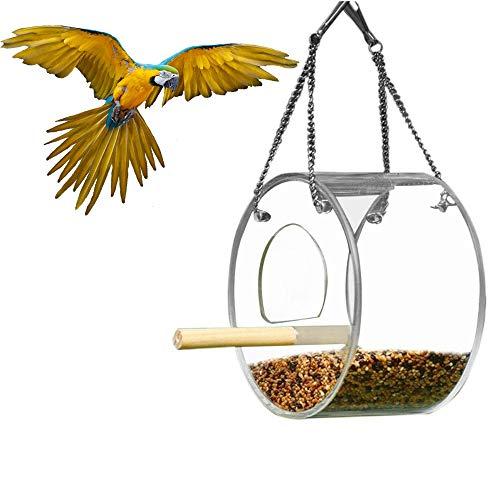 Decdeal Alimentador de pássaro Pendurado Alimentador de Papagaio Alimentador de Pássaro Caixa de Alimentação de Pássaros Ao Ar Livre Dispositivo de Alimentação de Pássaro Acrílico À Prova D 'Água