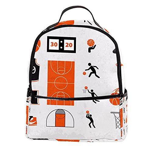 KAMEARI Mochila para escuela de baloncesto Symbols-01 Mochila casual para viajes con bolsillos laterales para botella