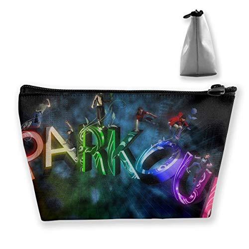 Bolsa de cosméticos trapezoidal para maquillaje, bolsa de aseo multicolor Parkour Print Travel bolsa de almacenamiento teléfono monedero