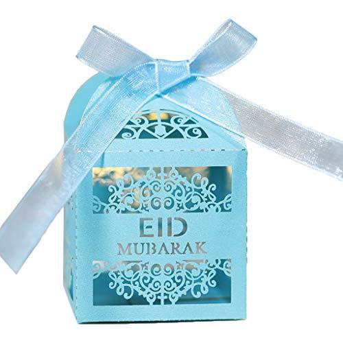 UEXCN 100 Stück Eid Mubarak Süßigkeitenschachteln Ramadan Dekoration hohle Geschenk-Boxen islamisch muslimisch dekorieren Zuhause