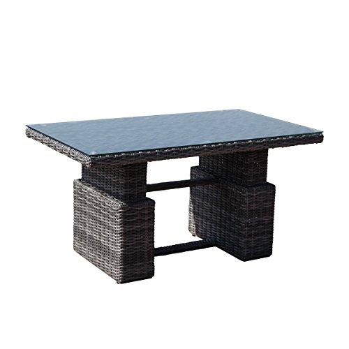 greemotion Table basse modulable Bari - Table basse avec vérin à gaz réglable en hauteur - Table relevable pour l'extérieur gris anthracite – Table de jardin en résine tressée – plateau en verre