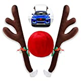 Christmas Car Reindeer Antler Decorations,Vehicle Xmas Decorations Auto Decoration Reindeer Kit with Jingle Bells Rudolph Reindeer and Red Nose for Car Accessories Christmas-Antlers