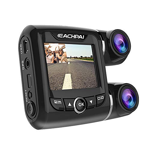 """EACHPAI Car Dash Cam,Dual Dash Cam FHD 1080P+1080P Front and Rear View 2"""" LCD 140 Degree Wide Angle Super Capacitor Dashboard Camera Recorder with Sony Exmor Video Sensor, G-Sensor, Loop Recording,GPS"""