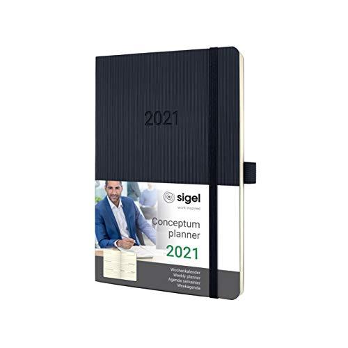 SIGEL C2122 Terminplaner Wochenkalender 2021, ca. A5, schwarz, Softcover mit vielen Extras, Conceptum - weitere Modelle