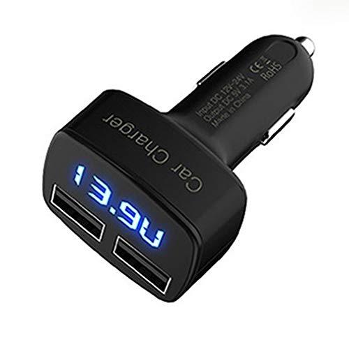 Triamisu Cargador Coche Doble Puerto con LED, Cargador de Coche para Teléfonos y Tabletas,con amperímetro de Corriente y voltímetro - Negro
