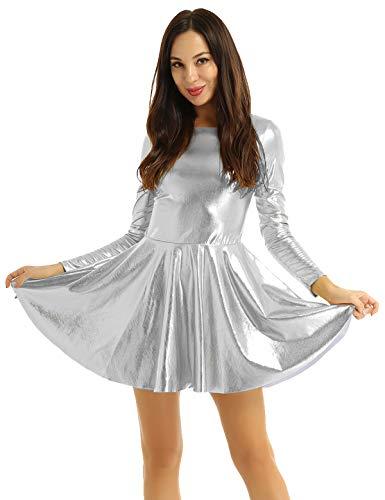 IEFIEL Sexy Vestido Wetlook Mangas Largas para Mujer Vestido Corto de Fiesta Coctel Noche Club Falda Plisada Plateado Medium