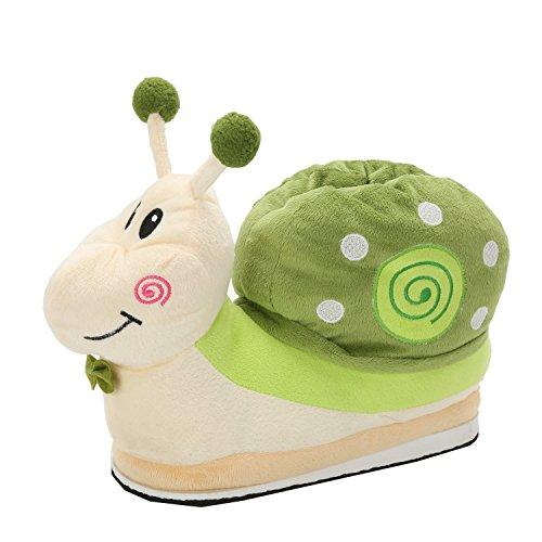lumaca peluche Pantofole Caldo di Lumaca Slipper Animali di Peluche Addensare con Unisex Autunno Inverno Scarpe Cartoni di Halloween Cosplay (Verde)