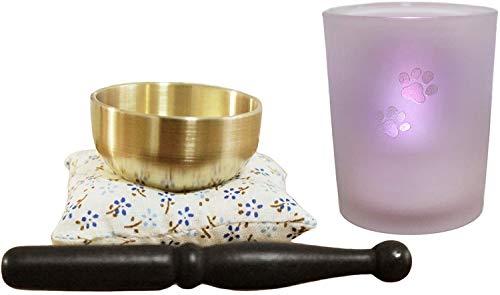 ペット仏具 七色に光る LEDキャンドル あしあと入り ガラスカップ おりん付き 火を使わないローソク 燭台 ろうそく
