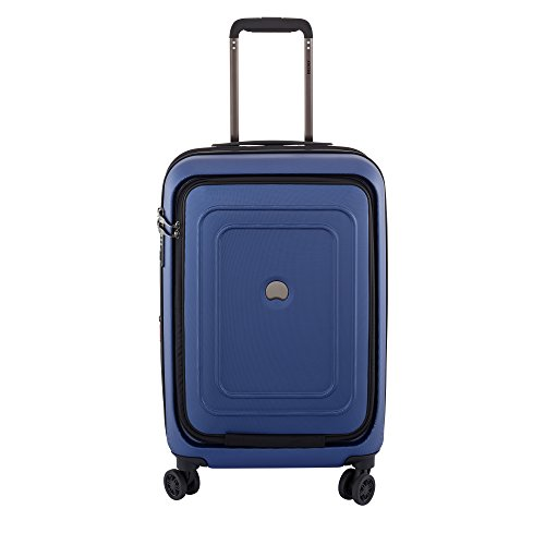 DELSEY Paris Cruise Lite Hardside Carry On Expandable Spinner Suitcase with Front Pocket & Lock, Blue