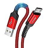 JSAUX Cable Micro USB 2Pack[2M+2M] 3A Duradero Cable USB Micro USB Nylon Trenzado Carga Rápida y Sincronizació Compatible con Android,Samsung Galaxy S7 S6 J5 J7,Xiaomi,Huawei,Sony,Nexus-Rojo