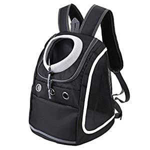Filhome Dog Backpack Carriers for Small Dogs & Cats, Pet Puppy Travel Front Carrier Bag with Breathable Head Out Design for Travel Hiking Outdoor Use (Black)