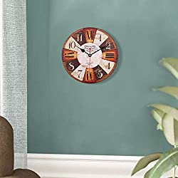 SkyNature Home Decor Clock, Large Arabic Numerals Silent Non-Ticking Battery Operated Quartz Movement, Vintage Rustic Wooden Clock for Living, Dining, Bedroom, Kitchen - 12 Inch, Colorful Number