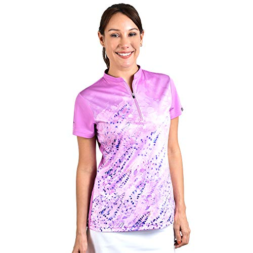 SAVALINO Women's Bowling Shirts, Professional Bowling Jerseys, Ladies Tops S-4XL Pink