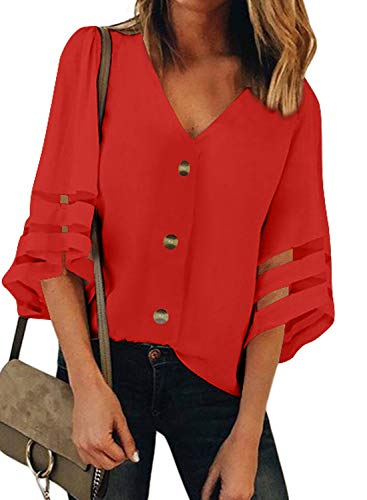 GOSOPIN Damen Tops Casual Oberteil V-Ausschnitt Bluse elegant Vintage Tunika Lose T-Shirt Sommer Hemd, Rot, L