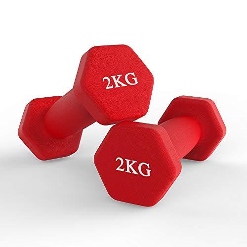 hoinya Neopren Hanteln, Hex Kurzhanteln Set -2er für Aerobic, Gymnastik und Muskel Krafttraining (Rot 2 X 2 kg)