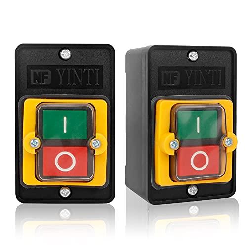 2Pcs Interruptor Impermeable de la Máquina 10A 380V Máquina Herramienta Interruptor de Botón Interruptor Trifasico Botón de Interruptor de la Máquina con 4 Tornillos para Maquinaria Textil