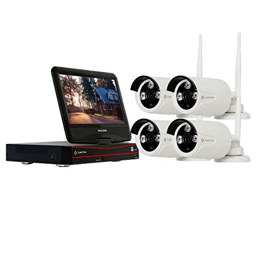 (2020 Upgraded Ver.) [4CH] Crystal Vision CVT804A-20WB All-in-One 1080P Full HD Wireless Surveillance System NVR CCTV w/ 2TB HDD, Built-in Monitor & Router, 2MP Camera Auto Pair