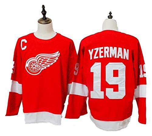 Steve Yzerman # 19 Detroit Red Wings Eishockey Trikots NHL Männer Sweatshirts atmungsaktiv T-Shirt (Size : Large)