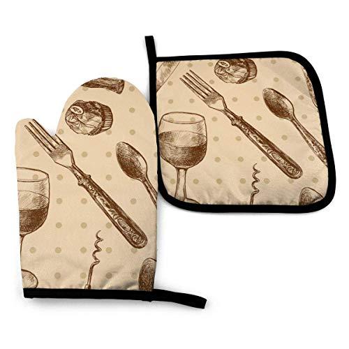 Pamela Hill Ofenhandschuhe und Topflappen Muster mit Besteck Ofenhandschuhe und Topflappen Grillhandschuhe-Ofenhandschuhe und Topflappen rutschfeste Kochhandschuhe