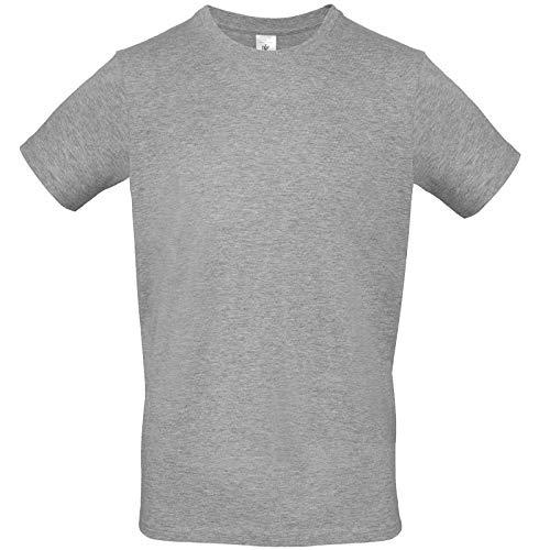 B&C Collection # E150 T-Shirt da Uomo in Cotone Tinta Unita, vestibilità Dritta - Sport Grigio (2XL)