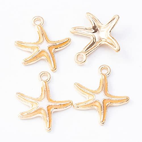 LLBBSS 50 Piezas 19 × 17 Mm Metal Dorado DIY Esmalte Hecho A Mano Encantos De Estrellas De Mar para Pulsera/Pendiente/Collar Que Hace Colgantes