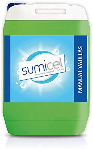 Sumicel Detergente líquido Concentrado para el Lavado a Mano de vajillas y cristalería, Pack de 4 garrafas de 5 litros
