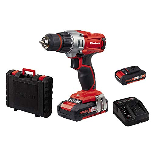 Einhell Perceuse Visseuse sans fil sur batterie TE-CD 18/2 Li Kit Power X-Change (18 V, 1,5 Ah, Temps de charge : 30 min, Couple : 44 Nm) VERSION KIT, LIVRE AVEC 2 BATTERIES ET 1 CHARGEUR