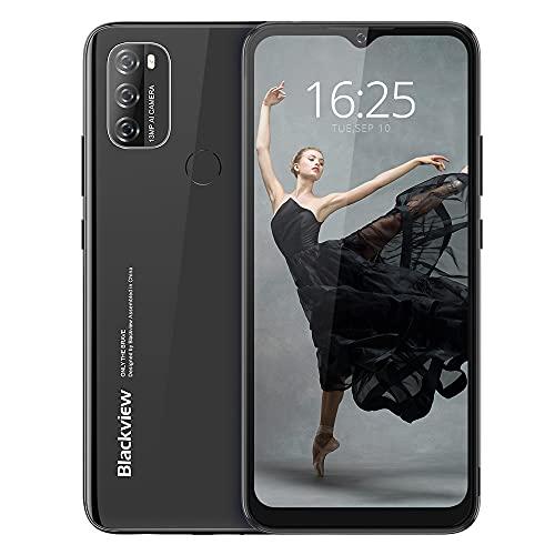 Android 11 Smartphone Libres, Blackview A70(E) Teléfono Móvil Octa-Core 3GB + 32GB Pantalla Waterdrop HD+ 6.517 '', Cámara Triple 13MP Movil Barato Batería 5380mAh Dual SIM 4G Face ID/GPS- Negro